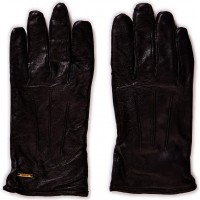 Leather Glove With Canvas Part