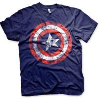 Captain America Distressed Shield T-Shirt Blå