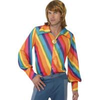 Regnbågsfärgad skjorta i 70-talsstil