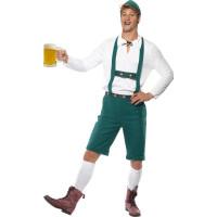 Oktoberfest Dräkt Gröna Lederhosen