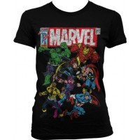 Marvel Comics - Team-Up Girly T-Shirt (Svart)