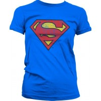 Superman Washed Shield Girly T-Shirt (Blå)