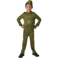 40-tals Soldat Barn Maskeraddräkt - Small