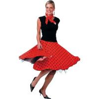 50-tals Kjol Röd med Scarf - One size