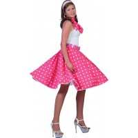 50-tals Kjol Rosa med Scarf - One size