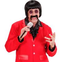 60-tals Musiker Svart Peruk med Mustasch - One size