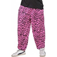 80-tals Baggy Byxor Zebra Rosa - Medium/Large