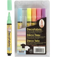 Deco Textilpennor Neonfärger - 6-pack