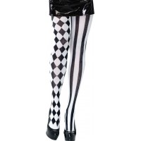 Harley Quinn Svart/Vita Tights - One size