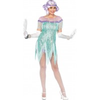 20-tals Foxtrotklänning Havsblå Deluxe Maskeraddräkt - Small