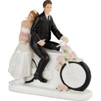 Bröllopsfigur Brudpar på Cykel