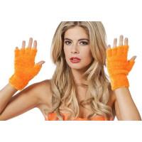 Fingerlösa Fluffiga Handskar Neonorange - One size