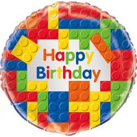 Folieballong Byggklossar Happy Birthday
