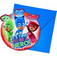 Inbjudningskort Pyjamas Hjältarna - 6-pack