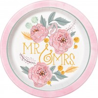 Papperstallrikar Bröllop Rosor - 8-pack