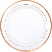 Plasttallrikar Premium Roséguldkant - 10-pack