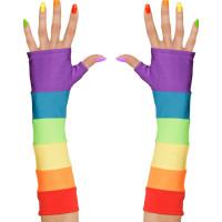 Regnbågsfärgade Fingerlösa Handskar - One size