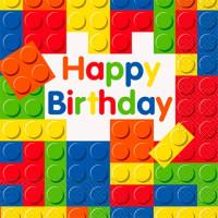 Servetter Byggklossar Happy Birthday - 16-pack