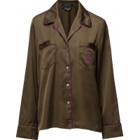 Silky Feel Pyjama Shirt With Contrast Pipings & Embroideries