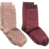 2-Pk Sock - Dot/Stripe With Lurex