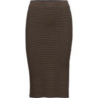Below The Knee Knitted Tube Skirt With Sporty Stripe Detail