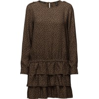 Silky Feel Drop Waist Dress With Ruffle Skirt