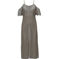 Striped Silk Shirting Cold Shoulder Midi Dress