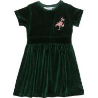 Dress Flamingon Mini Embroidered Velvet Green