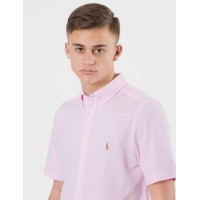 Ralph Lauren SHORT SLEEVE BUTTON DOWN KNIT Rosa Skjortor till Kille