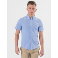 Ralph Lauren SHORT SLEEVE BUTTON DOWN KNIT Blå Skjortor till Kille