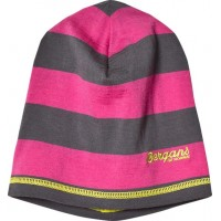 BergansMössa, Merinoull, Fjellrapp, Youth, Hot Pink/Dark Grey Stripe