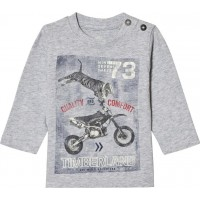 TimberlandTiger on Motorbike Print Long Sleevee T-shirt Grey Marl6 months