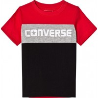 ConverseColour Blocked Graphic T-shirt Röd/Svart3-4 years