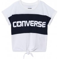 ConverseWhite and Black Branded Colour Blocked Tie Front T-Shirt10-12 years