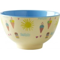RiceMelamine Bowl with Summer Print Two Tone Small