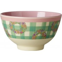 RiceMelamine Bowl Two Tone with Vichy Print