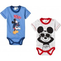 Disney Mickey MouseMusse Pigg 2-Pack Baby Body Grå/Blå74 cm
