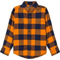 Lands' EndOrange and Navy Check Flannel Shirt4 years