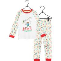 Pippi Långstrump Prickar Tvådelad Pyjamas (Vit)