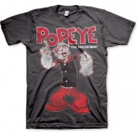 Popeye Distressed Sailor Man T-Shirt Grå