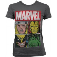 Marvel Distressed Characters Girly T-Shirt Mörkgrå