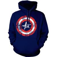 Captain America Distressed Shield Hoodie Navy