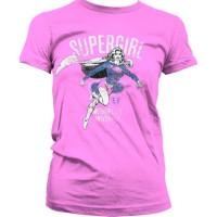 Supergirl Metropolis Distressed Girly T-Shirt