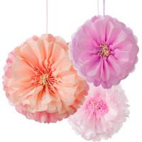 Pom Pom Blommor Hängande Dekoration 3-pack