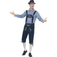 Oktoberfest Traditionell Dräkt Blå Deluxe