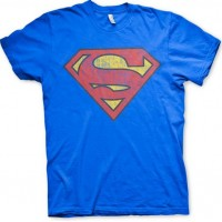 Superman Washed Shield T-Shirt (Blå)